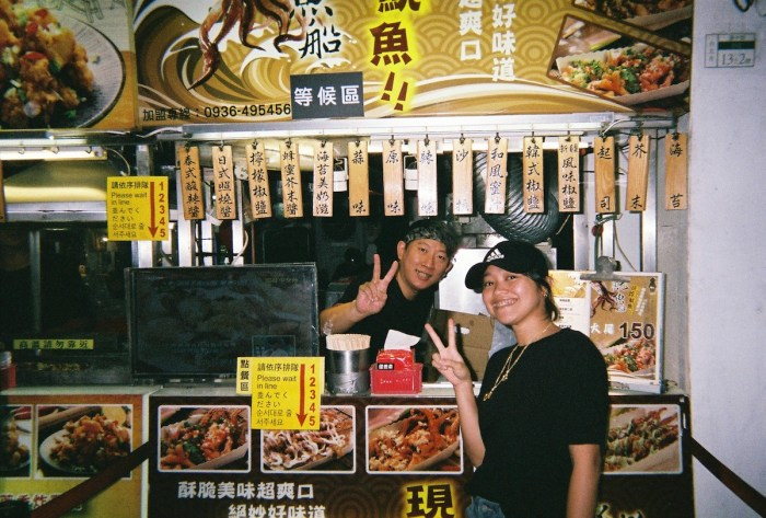 A stall selling deep-fried octopus at Ximending Shopping District