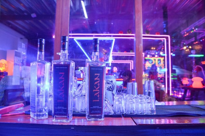 Lakan Premium Coconut Liquors are laid out at Om Bar
