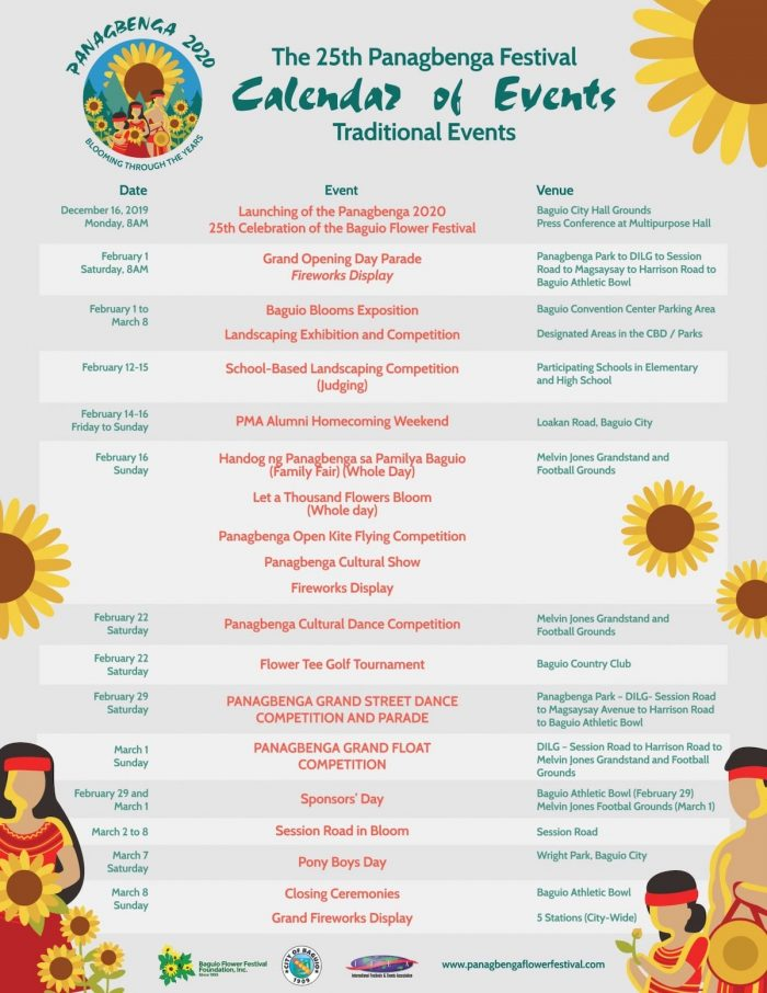 Panagbenga 2020 Calendar of Events