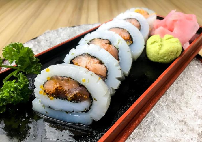 Milky Way Roll -Marinated Tuna and Salmon Rolled in Slices of Squid