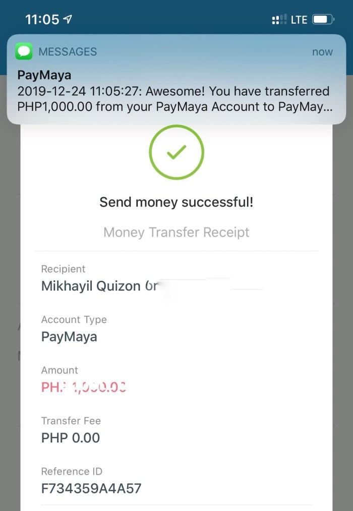 Paymaya transfer receipt