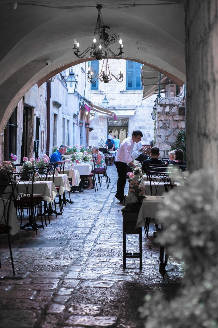 Peaceful courtyard in a restaurant in Dubrovnik