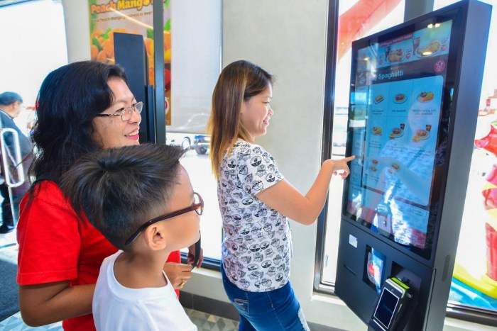 Customers found ordering quick and easy via Jollibee's self-order kiosks.
