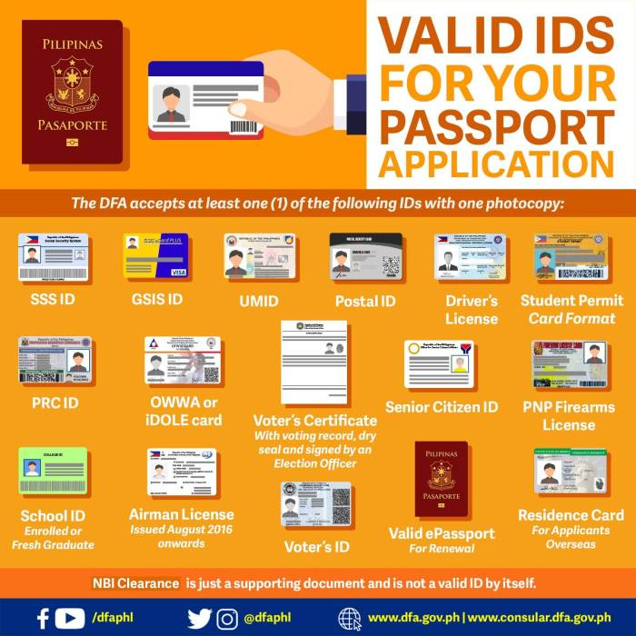 The DFA accepts at least one of the following valid IDs with one photocopy