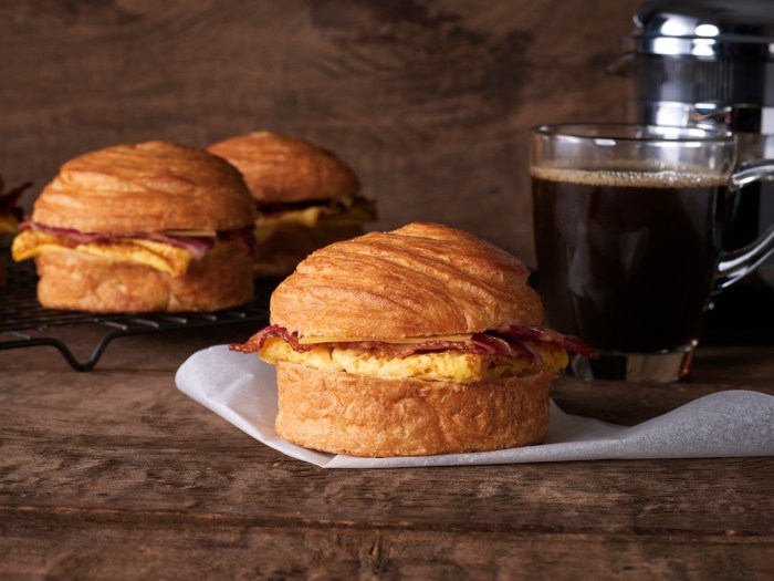 Bacon, Egg and Gouda Cheese on Croissant Bun