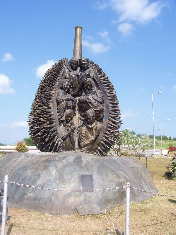 Durian Monument at Davao Airport photo via Wikipedia CC