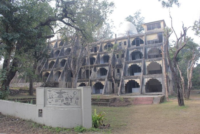 The remains of the former dorms of yoga students who studied at Maharishi Mahesh Yogi's Ashram in the 1970s