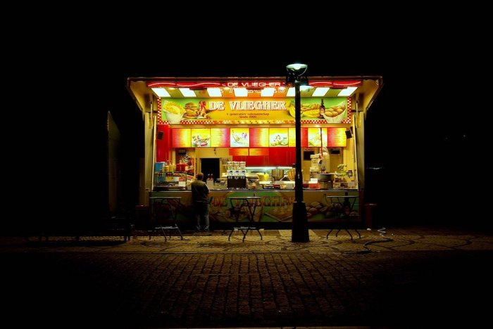 Fries Store at Night