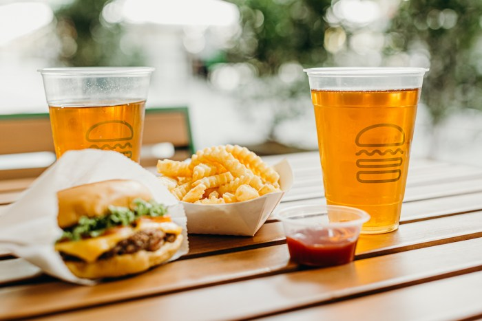 Shack Burger and beers