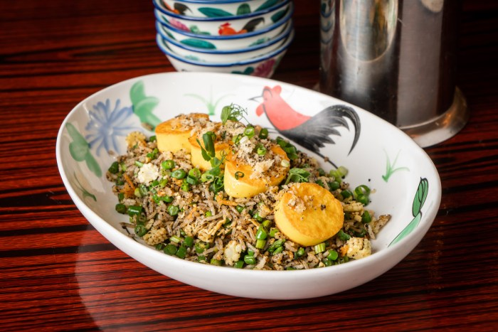 Black Truffle and Egg Tofu Fried Rice (HK$118) is an east-meets-west vegetarian option, with 'tofu scallops' nicknamed for their resemblance to seafood, while low in calories yet rich in calcium, protein and iron, guarding against colon cancer and heart diseases