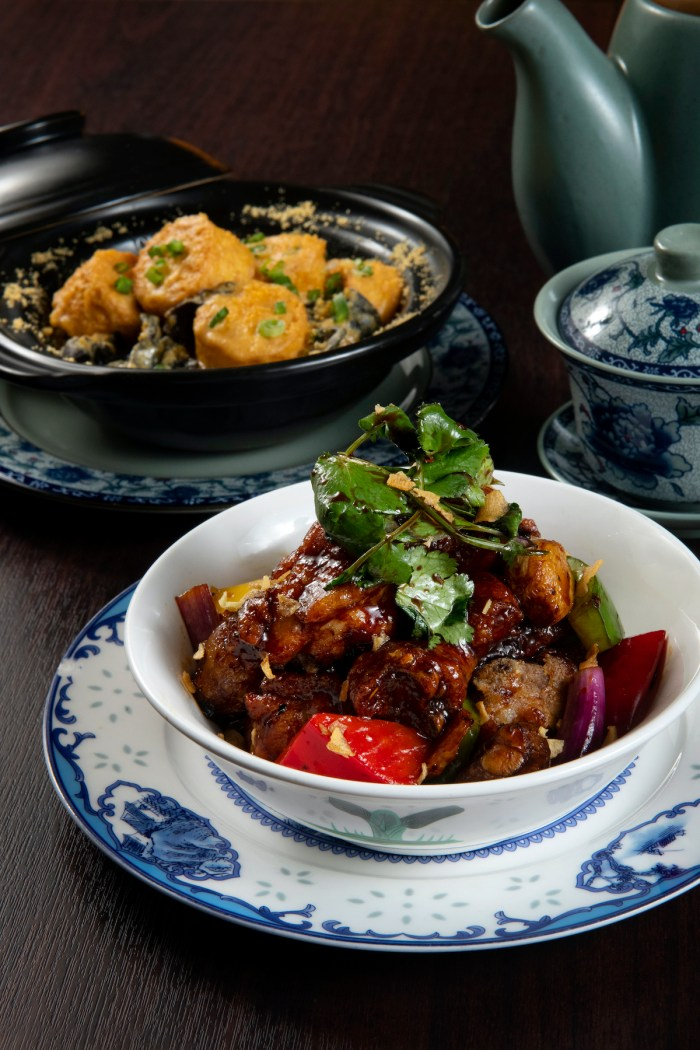 Sautéed Local Free-range Chicken with Sesame Oil, Rice Wine and Soy Sauce, paired with Pumpkin and Shiitake Mushroom Rice (HK$98) is a healthy elixir with free-range chicken
