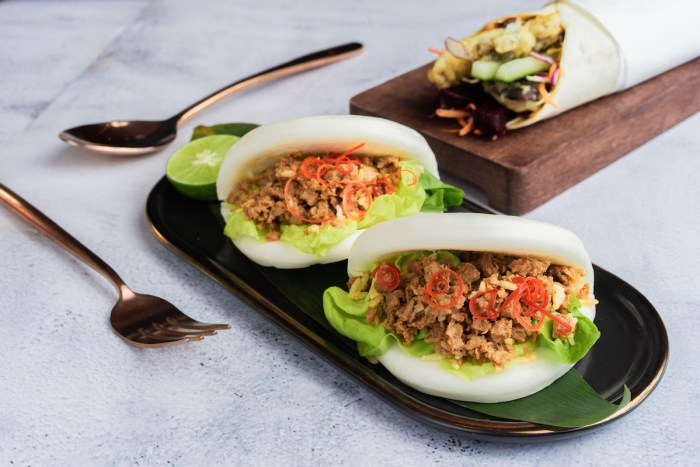 Steamed bun with Thai salad