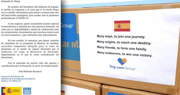 Trip.com Group received a note of gratitude from the Office of the President of the Government of Spain (pictured).
