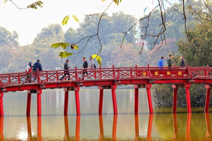 Red bridge on Hoan Kiem Lake in Hanoi