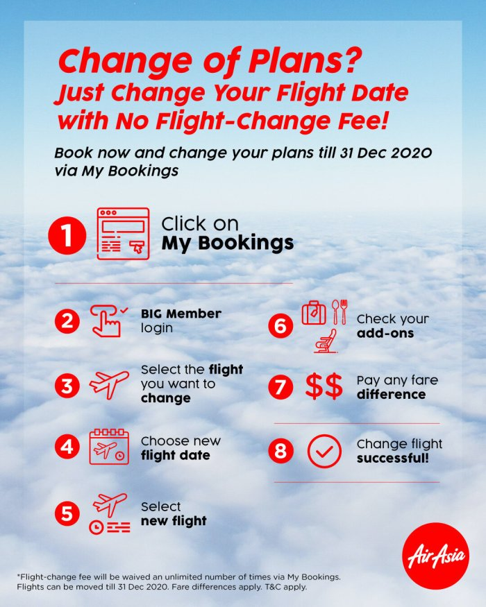 Enhanced flexibility for AirAsia guests traveling up to 31 Dec 2020 with flight change fee waiver