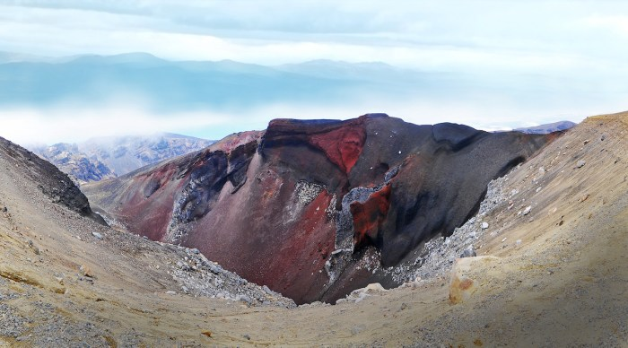 The Red Crater whose last eruption brought up iron oxide from the earth giving its stunning color.