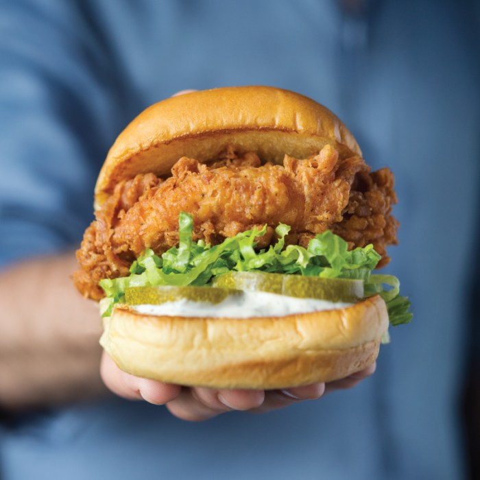 Chick'n Shack is acrispy 100% all-natural and antibiotic-free chicken breast with lettuce, pickles and buttermilk herb mayo on a non-GMO Martin's Potato Roll