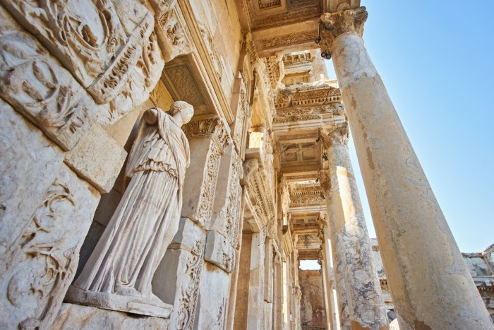 Details of Celsus Library, Ephesus Selcuk Turkey photo via Deposit Photos