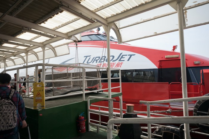 Ferry Turbojet at berth marine terminal Macau photo via Depositphotos