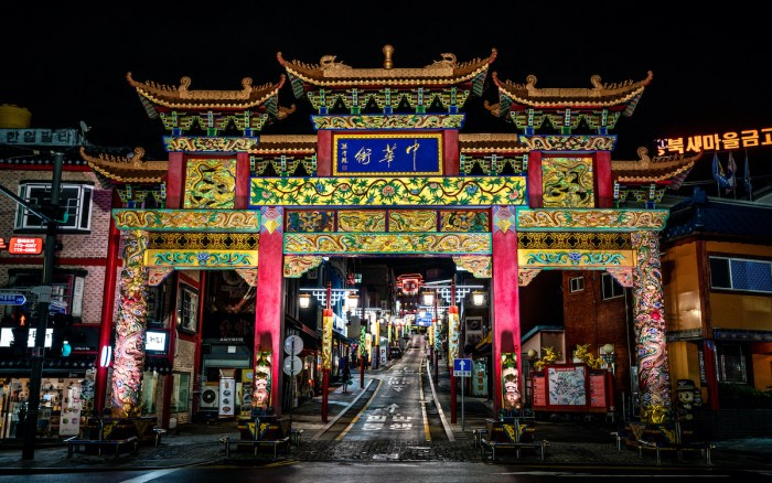 Incheon Chinatown entrance with Chinese traditional gate photo via Depositphotos.com