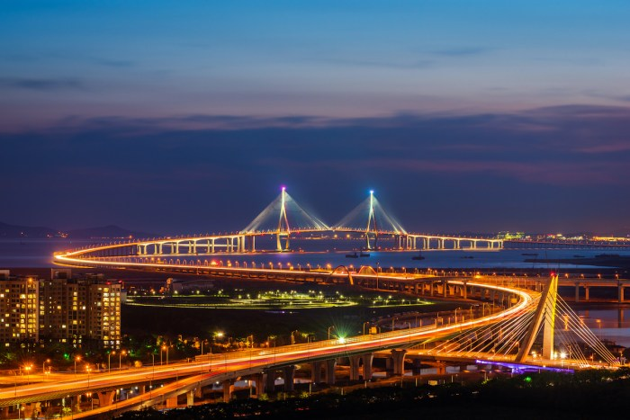 See Incheon Bridge at Night photo via Depositphotos.com