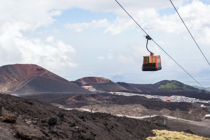Silvestri craters and cable car to Etna volcano, Sicily, Italy via Depositphotos