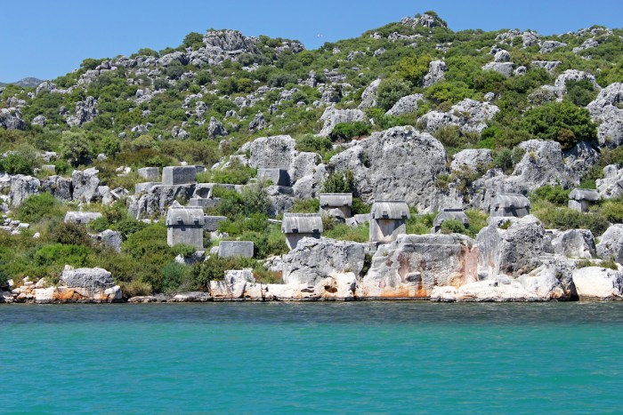 Stone sarcophaguses in Kekova, Turkey via DepositPhotos