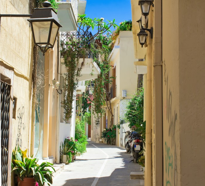 Streets in the old part of Rethymno photo via Depositphotos