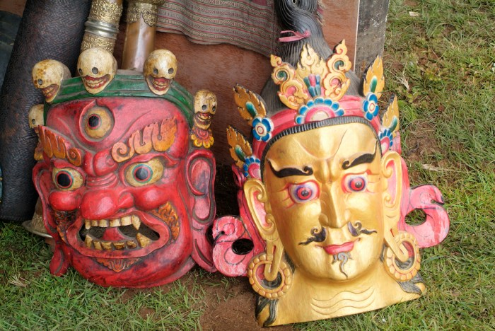 Masks Souvenirs from Bhutan photo via Depositphotos