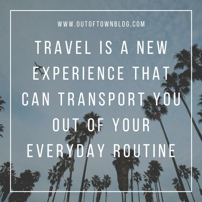 Travel is a new experience - travel quote caption