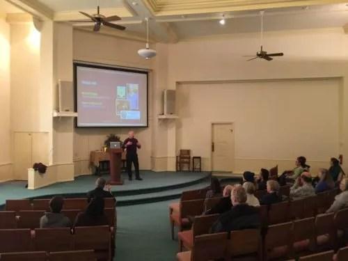 Picture of Michael Vukelic doing talk for Lake Harriet Center