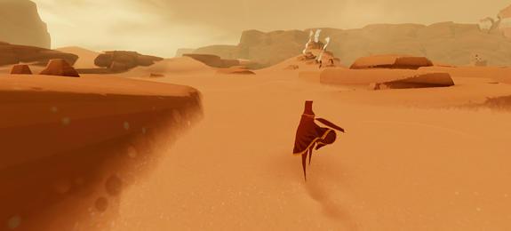 """Em """"Journey (2012)"""", jogadores podem, ao invés de competir, interagir colaborativamente, estabelecer vantagens mútuas, comunicar-se por meio de música"""