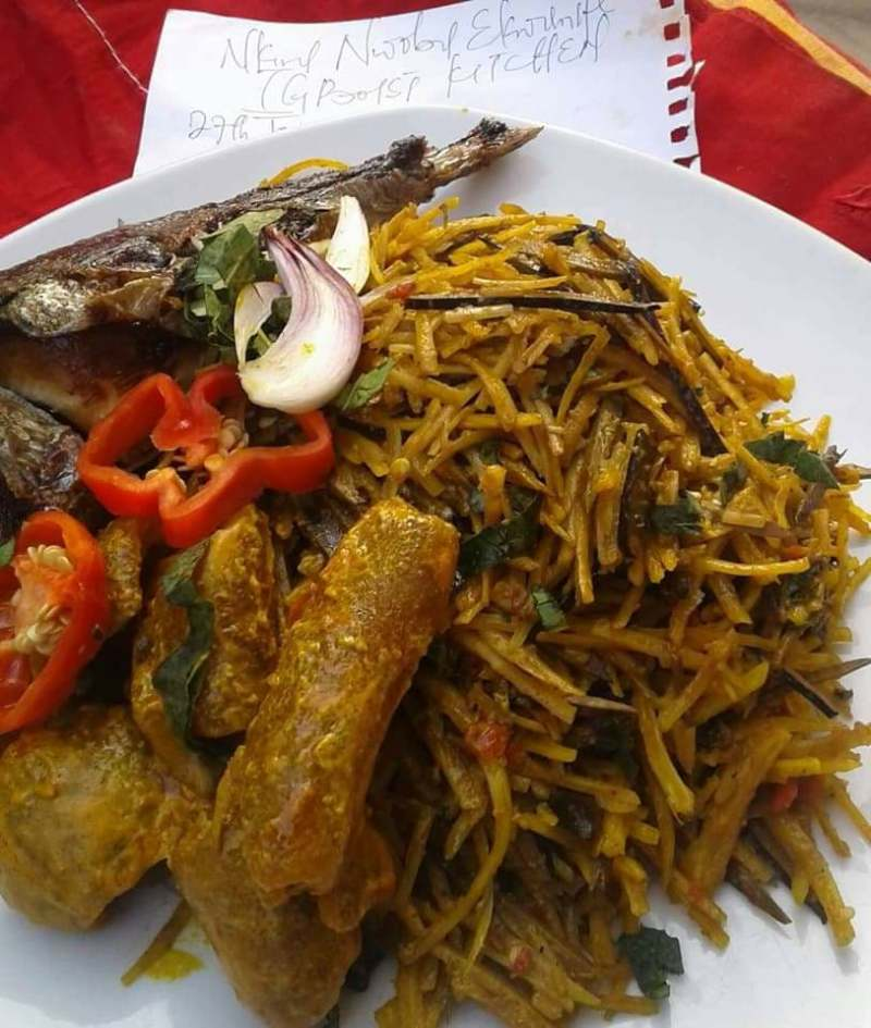 "Igboist Kitchen contest Winners with their dishes ""Abacha"""