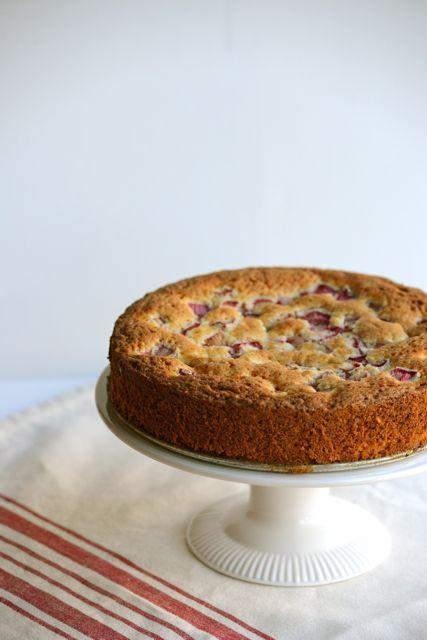 Norwegian Rhubarb Cake on Pedestal