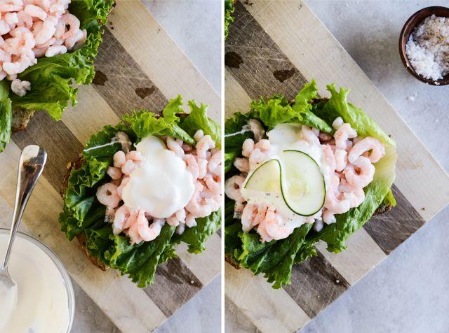 Garnishing Shrimp Smørrebrød
