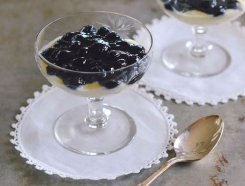 Cardamom Almond Custard with Blueberries