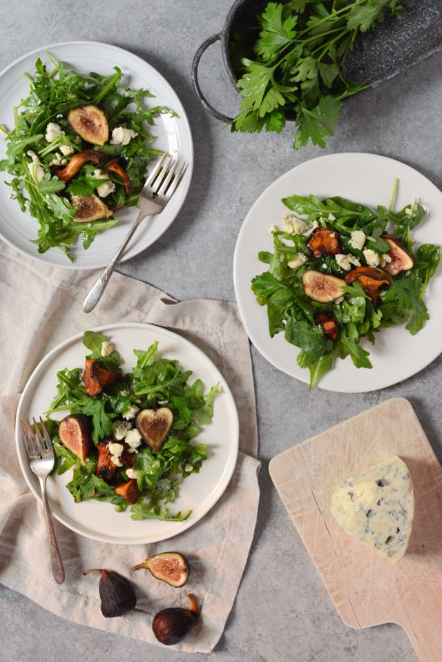 Chanterelle, Fig, and Blue Cheese Salad - a Modern Nordic-Inspired Recipe by Norwegian-American Food Writer Daytona Strong