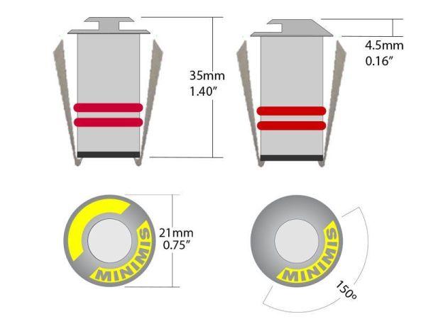 medida mini aplique led empotrado