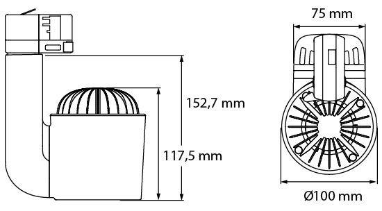 Medidas foco led de carril JADE S