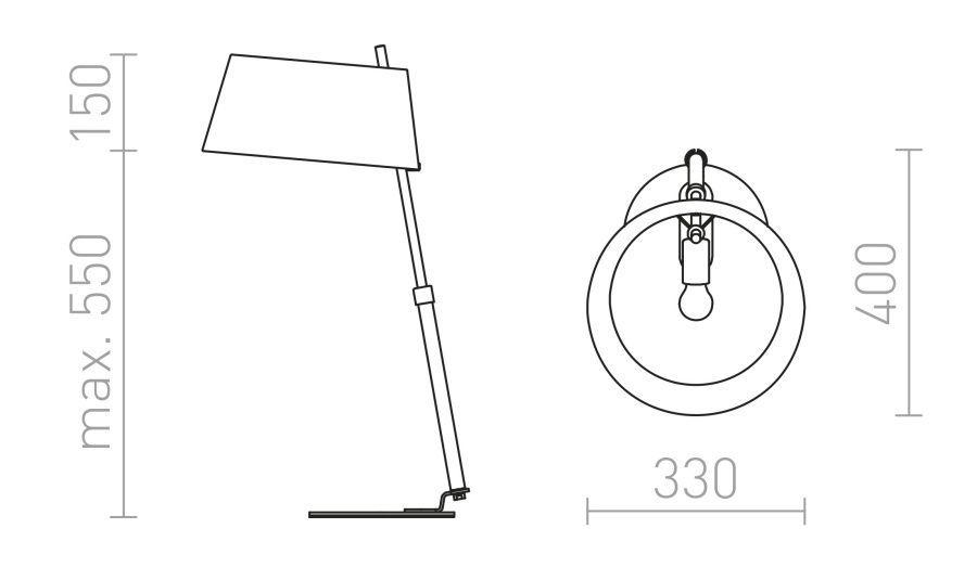 Medidas Lámpara de mesa con pantalla textil modelo Ritzy Mesa