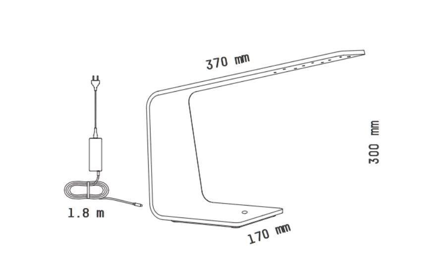 Medidas lámpara de mesa LED1 de Tunto Design