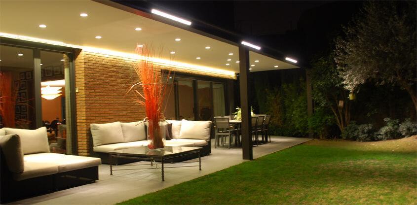 Iluminacin led de un porche Iluminacin exterior