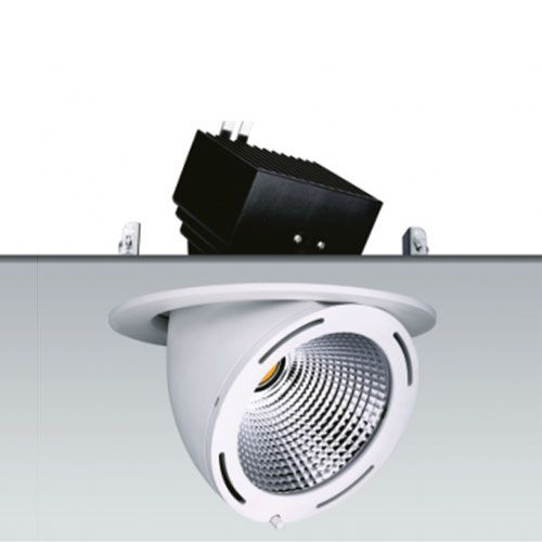 Downlight led basculante y orientable para iluminación comercial