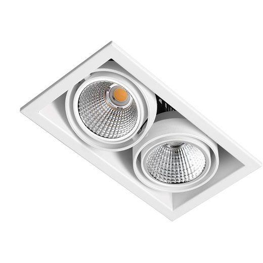 Spot LED doble empotrado tipo cardan
