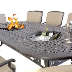 Antique Metal Chairs For Sale White And Oak Dining Firepit, Grill & Ice Double Bowl Table 8 - Outside Edge Garden Furniture