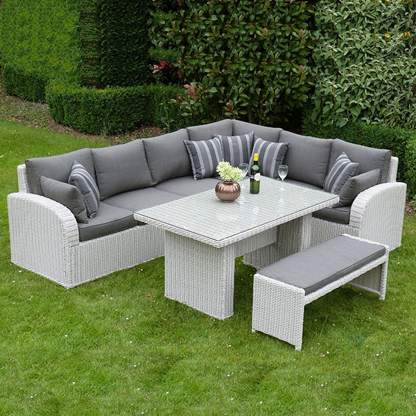 Rattan Corner Sofa Set Uk Havana Corner Dining Set & Bench - Pebble Rattan - Outside