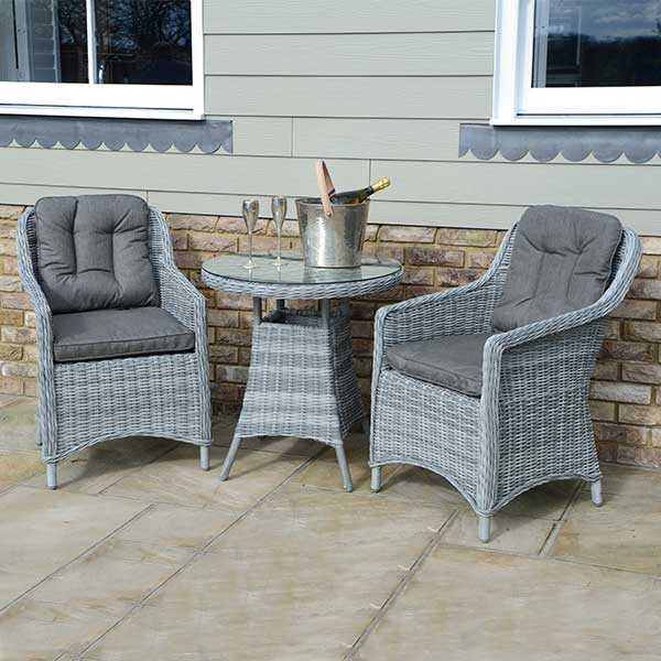 wicker sofa sets uk teak wood set designs pictures 70cm round table & 2 henley dining chairs - slate ...