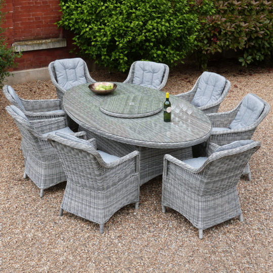 Henley 8 Chair Oval Dining Set  Slate Rattan  Outside