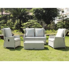 Wicker Sofa Sets Uk Single Chair Brisbane Buckingham 4 Piece Reclining Rattan Set Outside Edge Metal