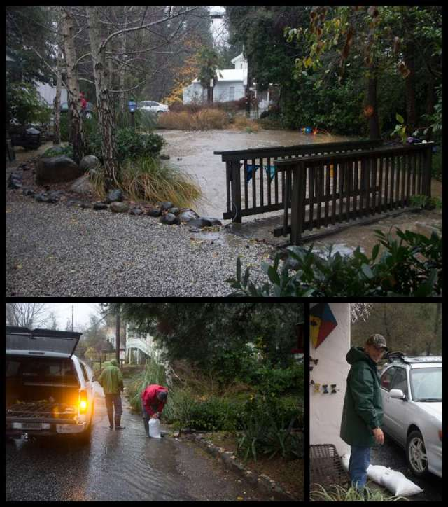 Nevada City's Outside Inn creek with high water